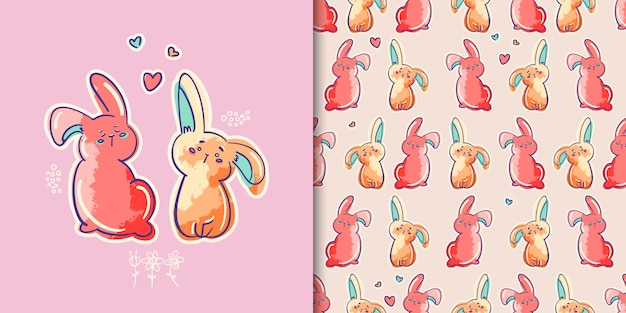 Bunnies print and seamless pattern
