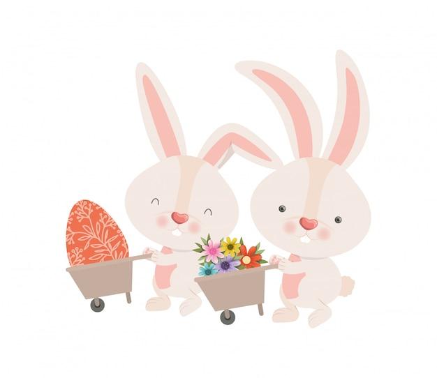 Bunnies with wheelbarrow and easter egg icon