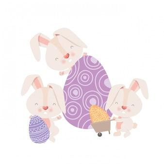 Bunnies with wheelbarrow and easter eggs icon