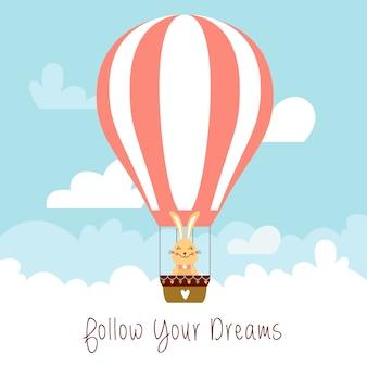 Bunny ana air ballon vector flat illustration