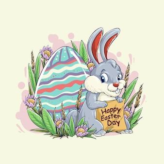 Кролик и цветное яйцо празднуют пасху иллюстрации