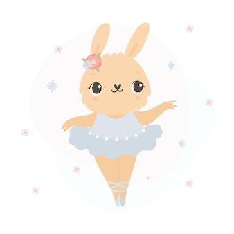 Bunny ballerina on white