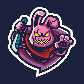 Банни бандит киберспорт логотип иллюстрация