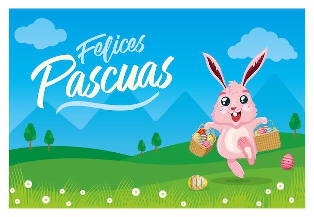 Кролик несет пасхальные яйца в корзинах на солнечном пейзаже с надписью «счастливой пасхи» на испанском