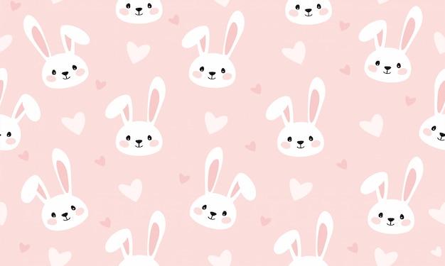 Bunny cartoon print for kids seamless pattern