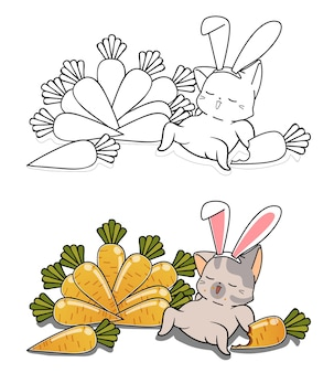 Bunny cat and carrots cartoon coloring page for kids Premium Vector
