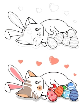 Bunny cat and eggs in easter day cartoon easily coloring page for kids