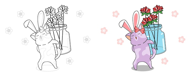 Bunny cat is lifting flowers for happy spring day coloring page for kids