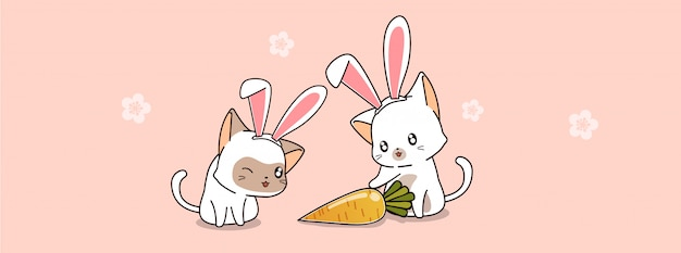 バニー猫とニンジンのバナーイラスト