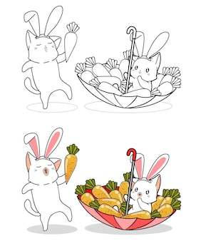 Bunny cats and carrots cartoon coloring page
