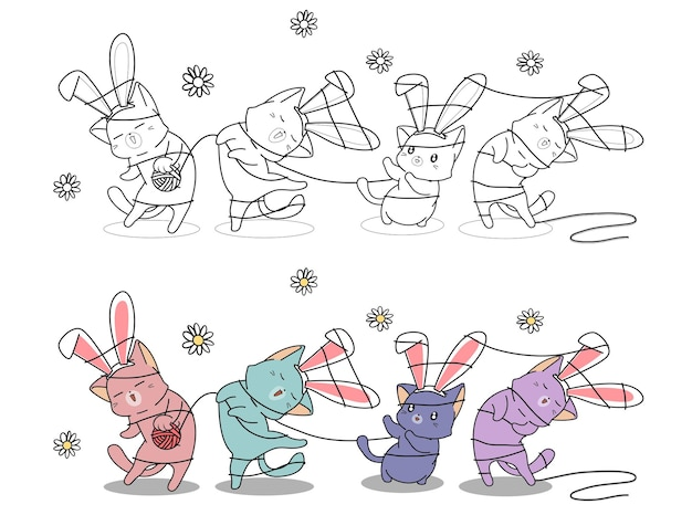 Bunny cats for happy spring day coloring page for kids