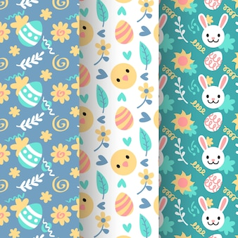 Bunny and chicken avatars happy easter seamless pattern collection