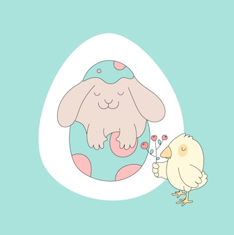 Bunny, chicken. easter card