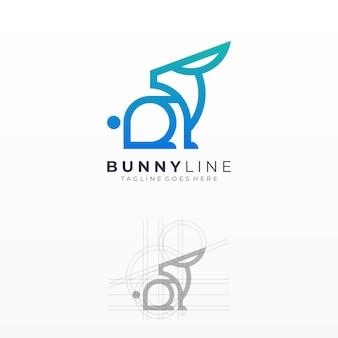 バニーカラフルなラインアートグリッド形状ロゴ