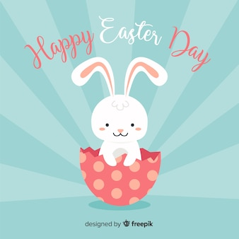Bunny coming out from egg easter day background
