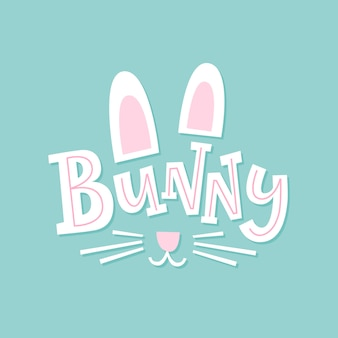 Bunny. cute illustration with hand drawn font
