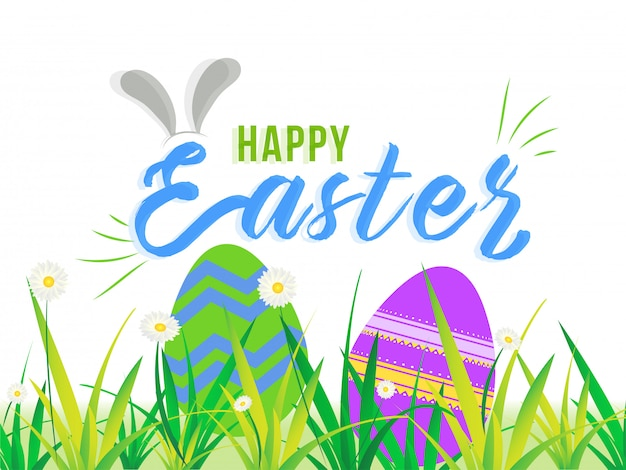Bunny ears illustration with colorful easter eggs hidden in gras
