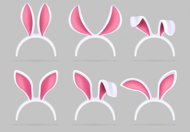 Bunny ears mask. easter rabbit costume photo booth isolated  set