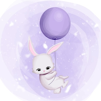 Bunny flying to the sky with balloon