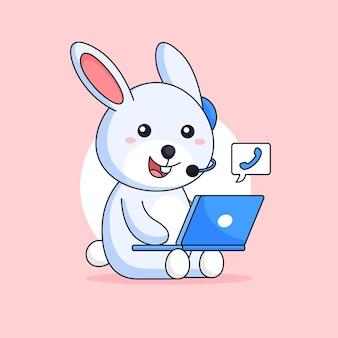 고객 서비스 콜 센터로 일하는 토끼 행복