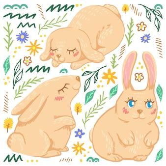 バニー、うさぎ。かわいいウサギフラット手描きベクトルイラスト。スカンジナビアスタイルのカラフルなコレクション。抽象的な漫画の動物。イースターデザインのためのシンプルな要素。
