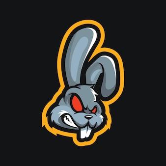 Дизайн логотипа талисмана головы кролика
