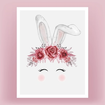 Bunny head watercolor flower red maroon hand drawn illustration