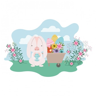 Bunny on landscape with easter egg icon