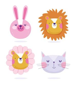 バニーライオン猫と虎の花に直面している動物漫画かわいいテキスト