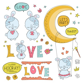 Bunny love comic cartoon vector illustration set