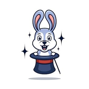 토끼 마술 귀여운 만화 로고 일러스트 크리 에이 티브