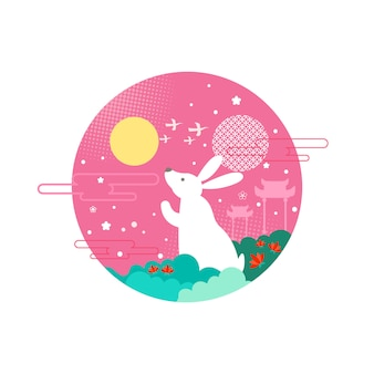 Bunny mid autumn festival vector illustration