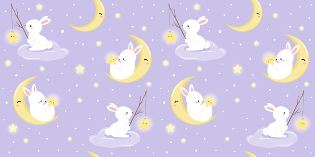 Bunny and moon illustration in seamless pattern