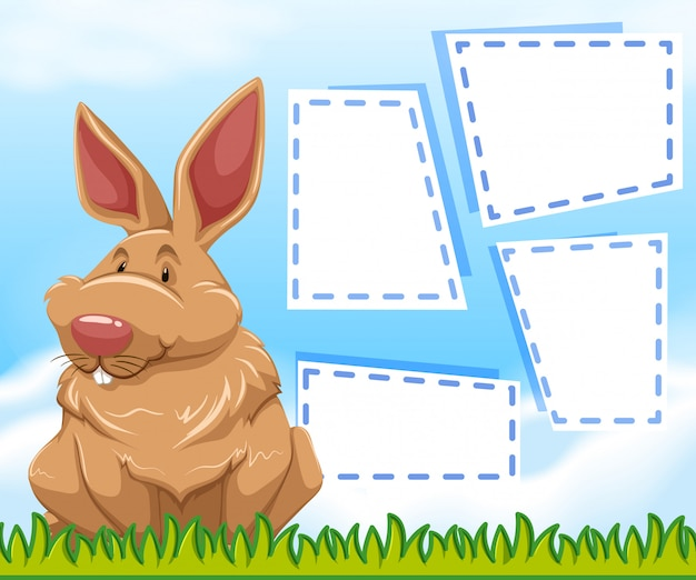 A bunny on note template