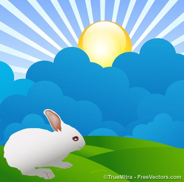 Кролик на красочный пейзаж