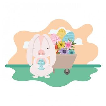 Кролик на пейзаж с иконой пасхальное яйцо