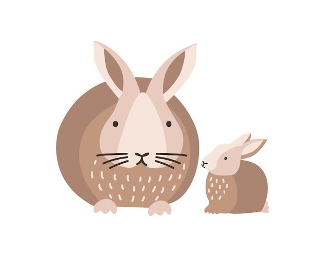 Зайчик или кролик с младенцем, изолированные на белом фоне. прекрасная семья милых забавных диких лесных животных или домашних животных. родитель с детенышем, матерью и ребенком. плоский мультфильм красочные векторные иллюстрации.