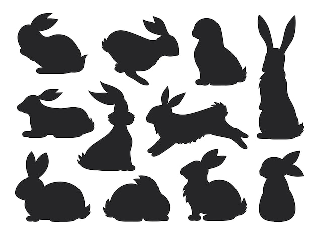 Bunny pet silhouette in different poses. hare and rabbit collection.  set of cute rabbits .