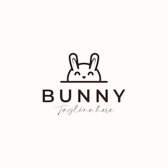 Концепция логотипа монолайн кролик кролик, изолированные на белом фоне
