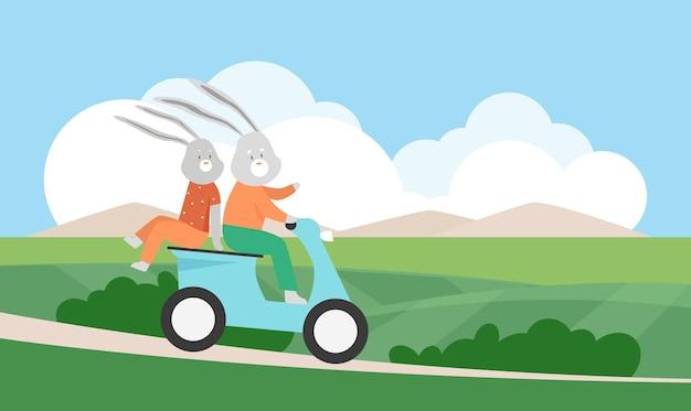 Кролики-кролики катаются на самокате летом зеленый сельский пейзаж милые забавные животные путешествия