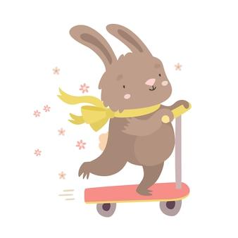 Bunny su uno scooter