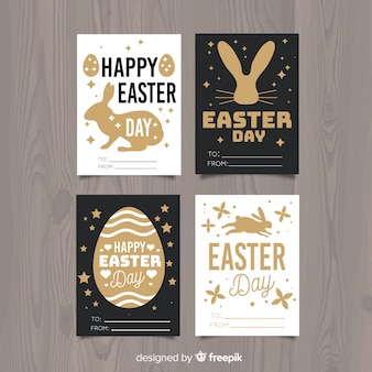 Bunny silhouette easter card collection