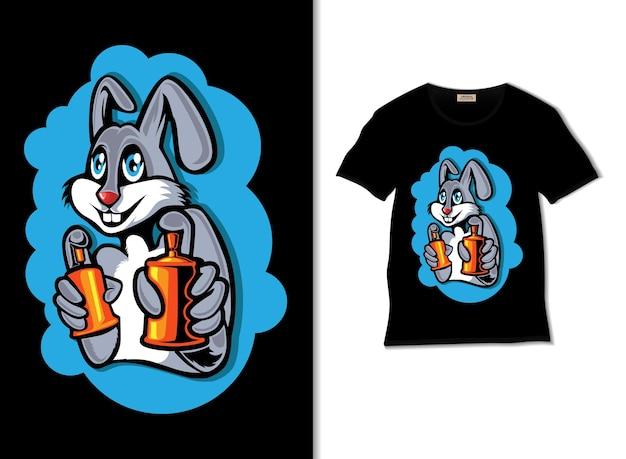 토끼 스프레이 그림 t 셔츠 디자인
