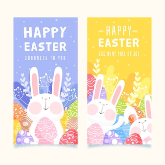 Bunny spring easter day banner collection