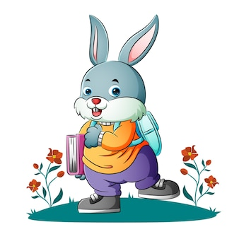 The bunny student is walking to the school of illustration