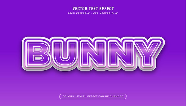Bunny text style effect in purple gradient