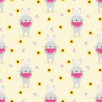 Bunny and watermelon seamless pattern.