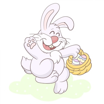 Bunny with a basket of easter eggs