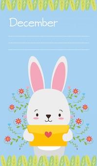 Bunny with love letter, cute animals, flat and cartoon style, illustration