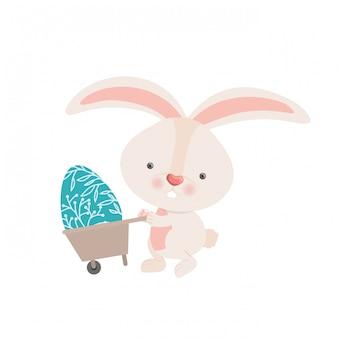 Bunny with wheelbarrow and easter egg icon